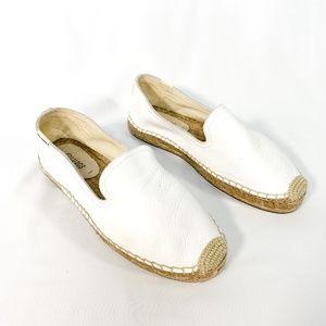 SOLUDOS White Leather Flat Slip-On Espadrille